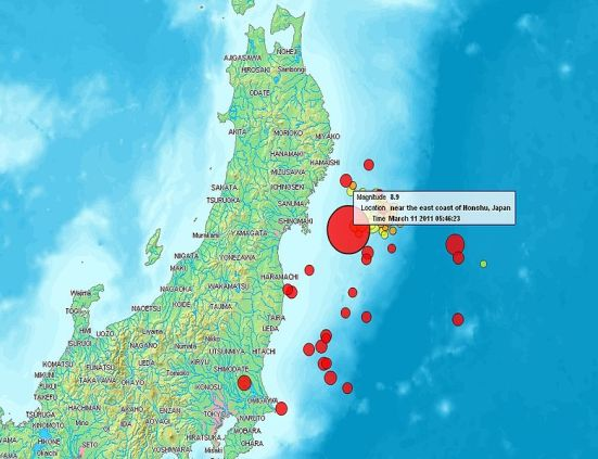 Map showing where the earthquakes occurred