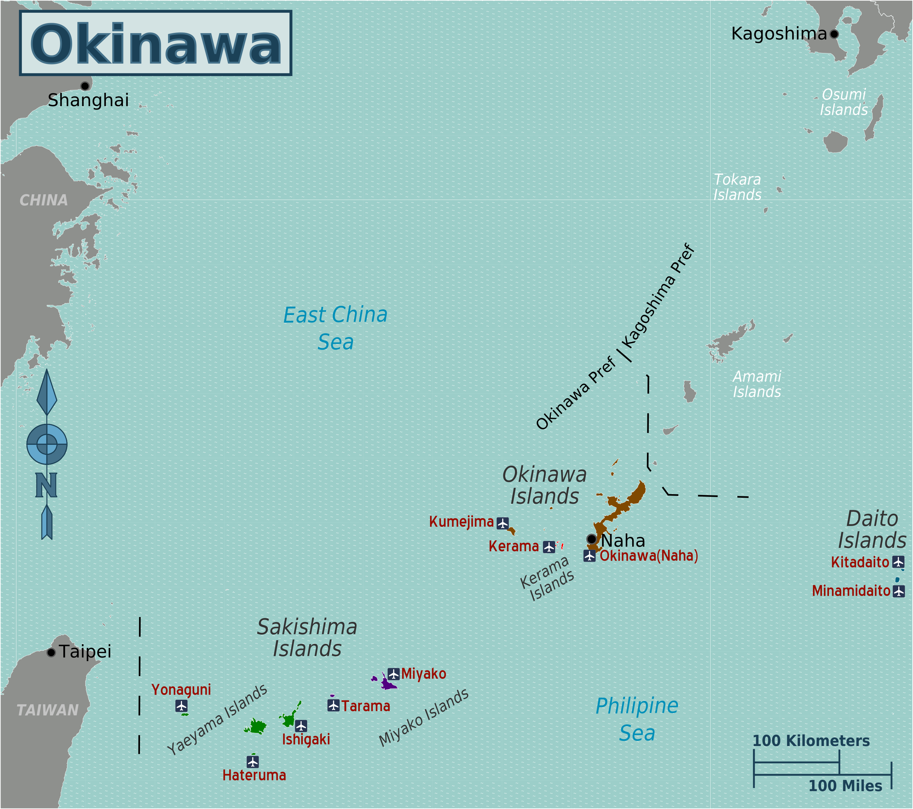 Map Okinawa Surrounding Islands