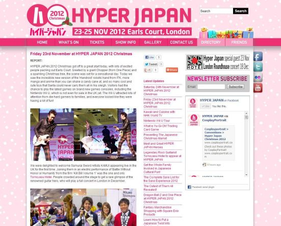 Friday 23rd November at Hyper Japan