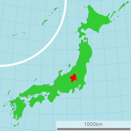 Map of Japan showing Gunma