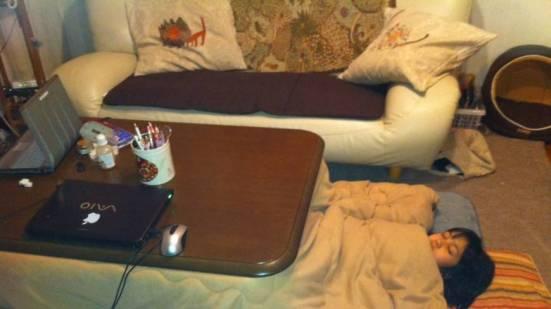 Sleeping under kotatsu
