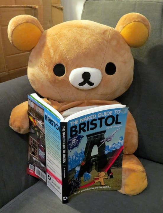 Rilakkuma's helping me out by reading The Naked Guide to Bristol (not as naughty as it sounds!)