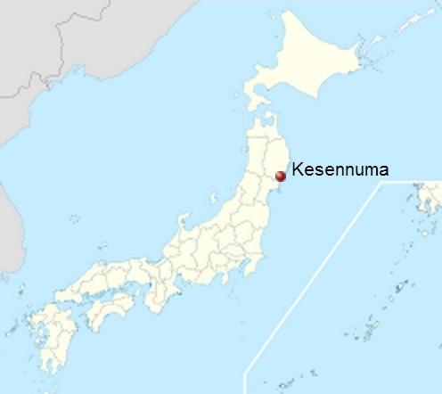 Map of Japan showing Kesennuma