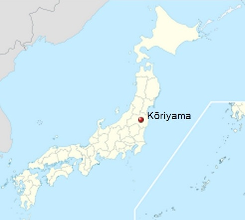 Map of Japan showing Koriyama