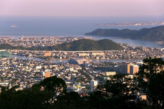 Tokushima city view from Mount Bizan