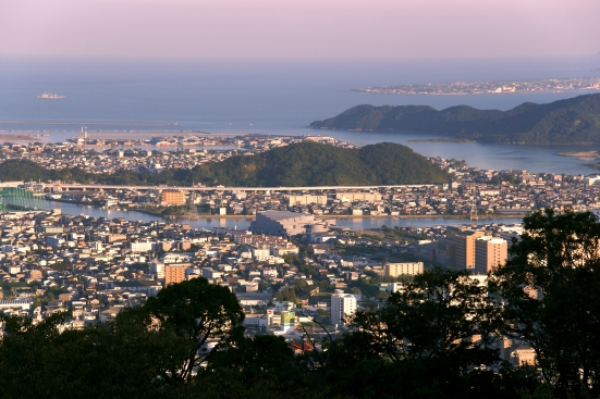 Tokushima city view from Mount Bizan