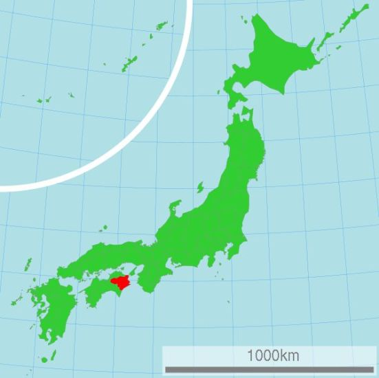 Map of Japan showing Tokushima Prefecture in Shikoku