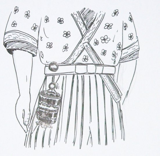 In this image, a man wears an inro supported by a netsuke passed through the ties of his hakama