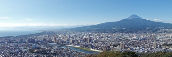 Panorama from observation deck of Mount Kanuki (香貫山), located in Numazu city, Shizuoka prefecture