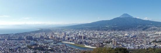 Panorama from observation deck of Mount Kanuki (香貫山), located in Numazu city, Shizuoka prefecture