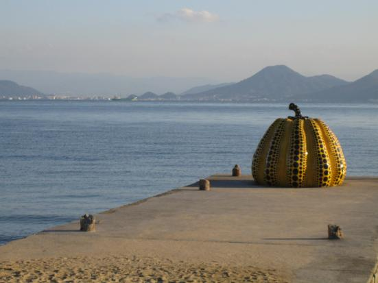 Yayoi Kusama's pumpkin on Naoshima