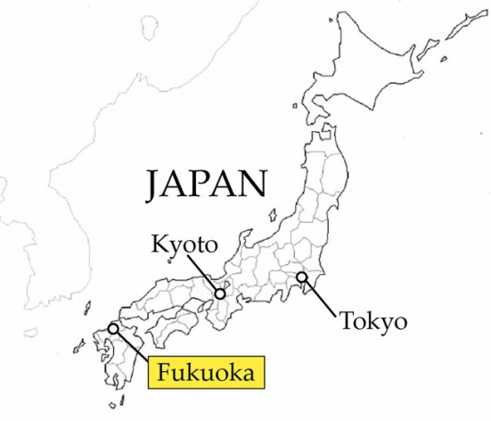 Fukuoka on a map