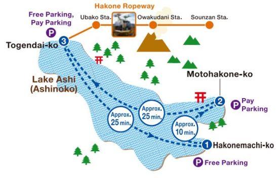 Hakone sightseeing cruise route
