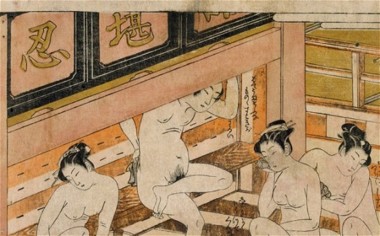 'Men with women in a bath house' by Isoda Koryusai (18th century)