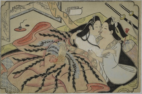 Lovers under a quilt with phoenix design by Sugimura Jihei (mid - 1680s)
