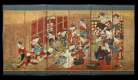 Courtesans of the Tamaya House attributed to Utagawa Toyoharu (late 1770s or early 1780s)