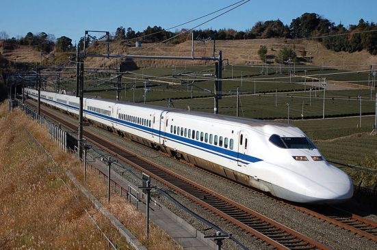 JR Central 700 Series Shinkansen on the Tōkaidō Shinkansen between Kakegawa Station and Shizuoka Station