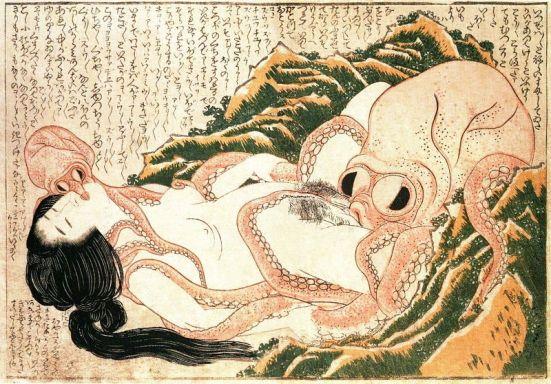 Diving woman and octopi by Katsushika Hokusai