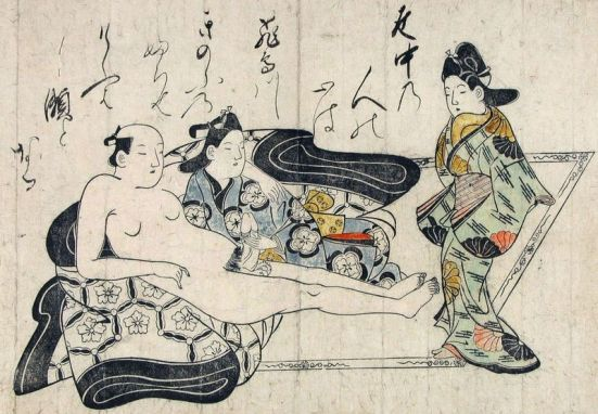 An example of early shunga by Hishikawa Moronobu (菱川 師宣), early 1680s