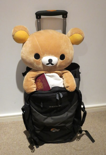 No, Rilakkuma, you can't come with me! But maybe I'll bring you back a present...