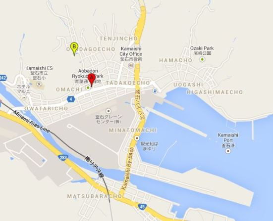 Map showing my hotel (A) and Sekiozenji (B) in relation to the port