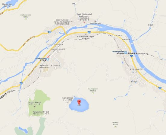 Map showing Katanuma lake in relation to Naruko Onsen Station