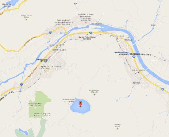 Map showing Katanuma lake in relation to Naruko Onsen Station