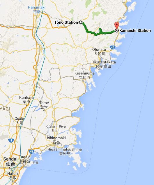 Map showing the journey from Tono to Kamaishi (1 hour), with Sendai marked for reference