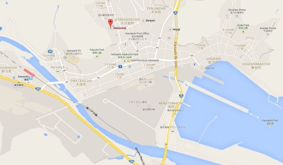 Google map showing location of Sekiozenji, Hotel Sunroute and Kamaishi Port