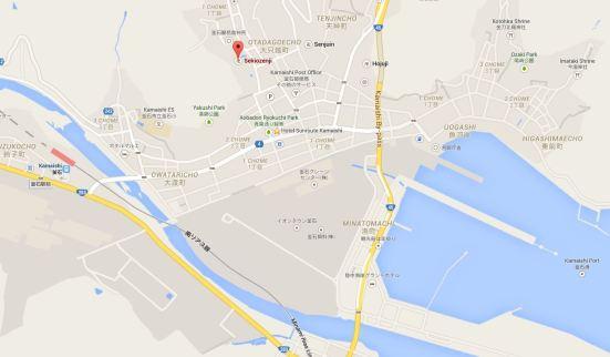 Google map showing location of Sekiozenji, Hotel Sunroute and Kamaishi Port