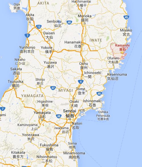 Google map showing the location of Kamaishi