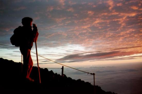 Sunrise near the summit of Mt. Fuji