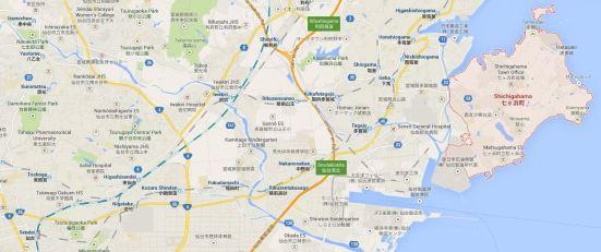 Map showing Shichigahama with Sendai (bottom left corner)