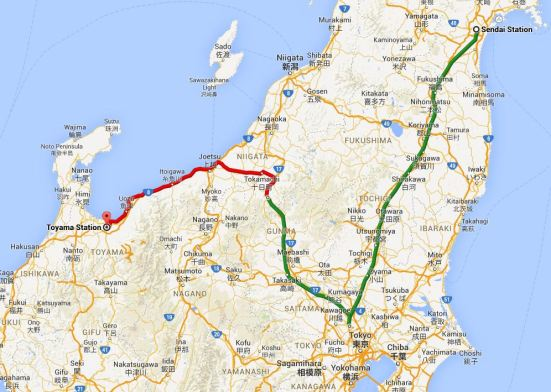 Map showing train journey from Sendai to Toyama
