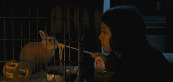 Kumiko feeds noodles to Bunzo, her pet rabbit (which is ridiculously cute!)