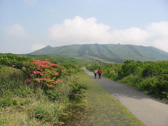 Volcanic peak of Mount Mt. Mihara on Izu Oshima, Izu Islands,