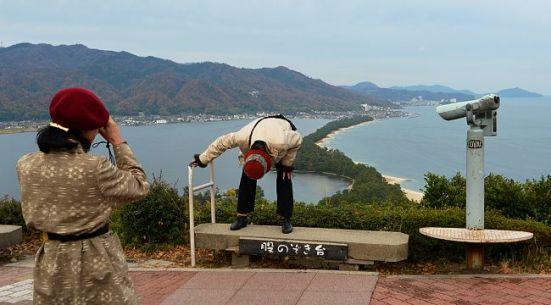 Viewing the sandbar (matanozoki style) from Amanohashidate View Land