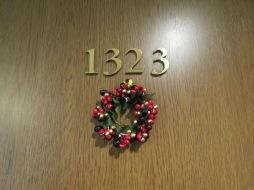 Christmas Wreath on my hotel room door